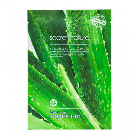 SECRET NATURE Смягчающая маска для лица с алоэ SOOTHING ALOE MASK SHEET 25 мл