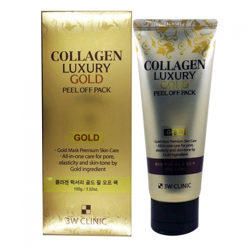 3W CLINIC Маска-пленка для лица Collagen&Luxury Gold peel off pack, 100 гр